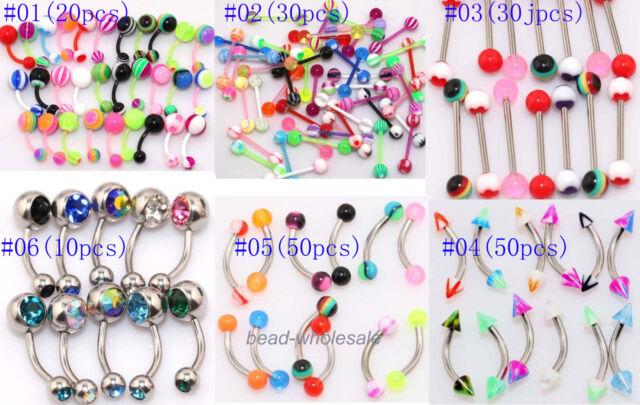 Wholesale 316L UV mix lot lip tongue eyebrow piercing bar barbell body jewelry