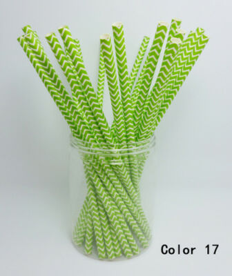 25 Paper Straws Chevron Striped Drinking Straw Party Wedding Birthday Color 17