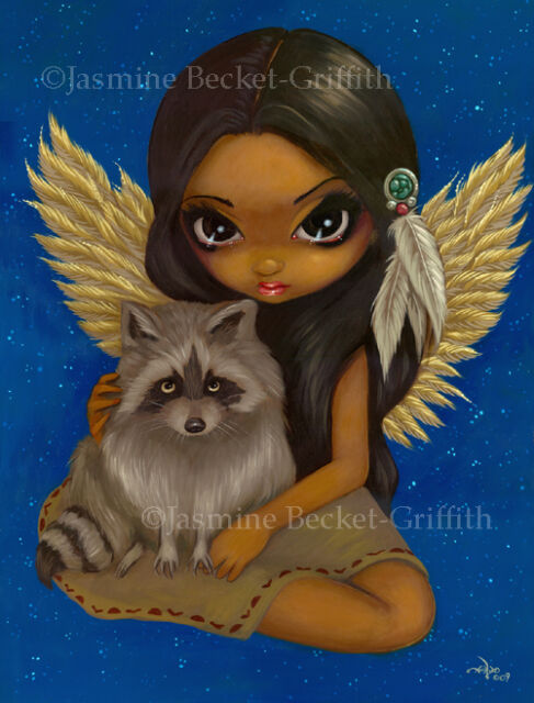 Jasmine Becket-Griffith art print SIGNED Brother Raccoon fairy native girl stars