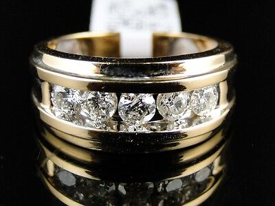 14K Mens Yellow Gold Round Cut 5 Diamond 11 Mm Wedding Band Channel Ring 1 Ct
