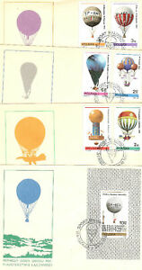 4-LETTRES-TIMBRES-POLOGNE-THEME-BALLONS-ET-MONGOLFIERES