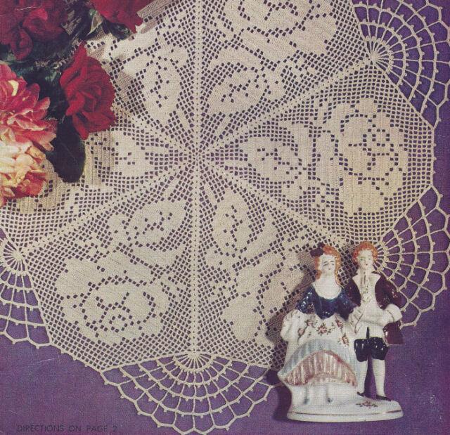 Vintage Crochet PATTERN to make Rose Filet Doily Motif Mat Centerpiece RoseFilet
