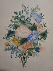 ANTIQUE-19th-CENTURY-AMERICAN-FOLK-ART-PAINTING-FRAME-FLOWER-FLORAL-THEOREM