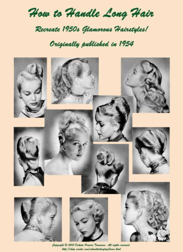 Vintage Hair Accessories: Combs, Headbands, Flowers, Scarf    1950s ATOMIC Hairstyle Book Create 50s Long Hairstyles $17.99 AT vintagedancer.com