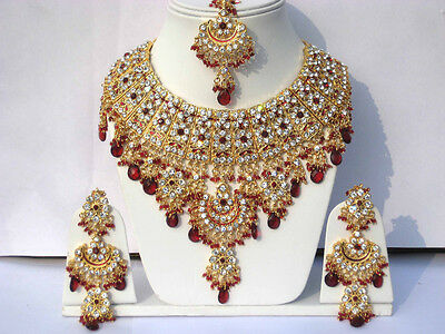 Bridal Look Gold Plated Handmade Zerconic Necklace Set Earrings Tikka Jewelry