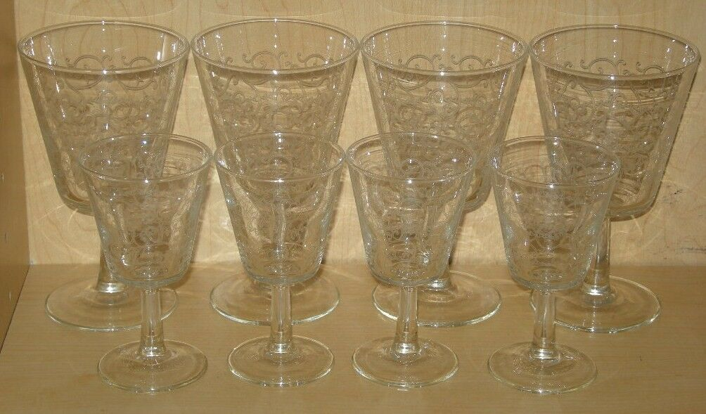 Set of 8 Clear Etched Wine Glasses and Cordial Glasses