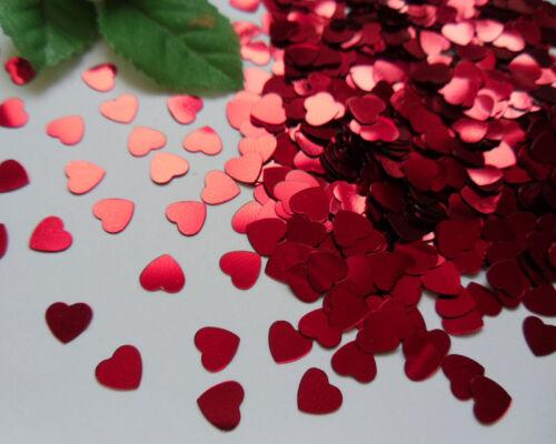 200pcs- 6MM Metallic Red Heart Shape Sequin WITHOUT a hole Appliques-Q025