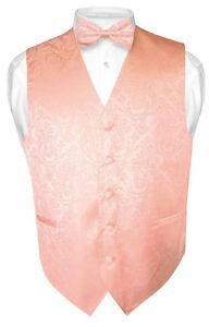 Men-039-s-PEACH-Paisley-Design-Dress-Vest-and-BOWTie-Set-for-Suit-or-Tuxedo