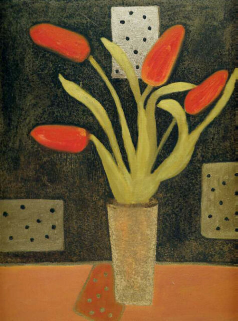Beverly Jean•RED POLKERS (Flowers in a Vase) Contemporary Art Print 11x14