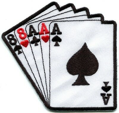 Full house aces eights playing cards biker retro applique iron-on patch S-464