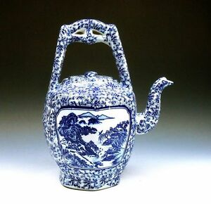 *Ship From U.S* Chinese Blue&White Landscape Scenery Painted Large Teapot