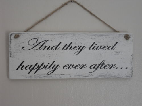 Shabby Wedding they lived happily ever after hanging plaque/sign chic and unique