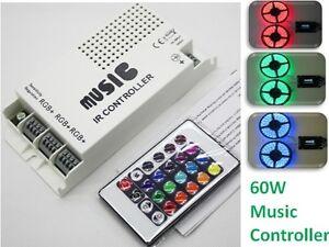 Music-Audio-Sound-Driver-RGB-x3-Strip-Light-LED-Controller-12V-60W-IR-Remote