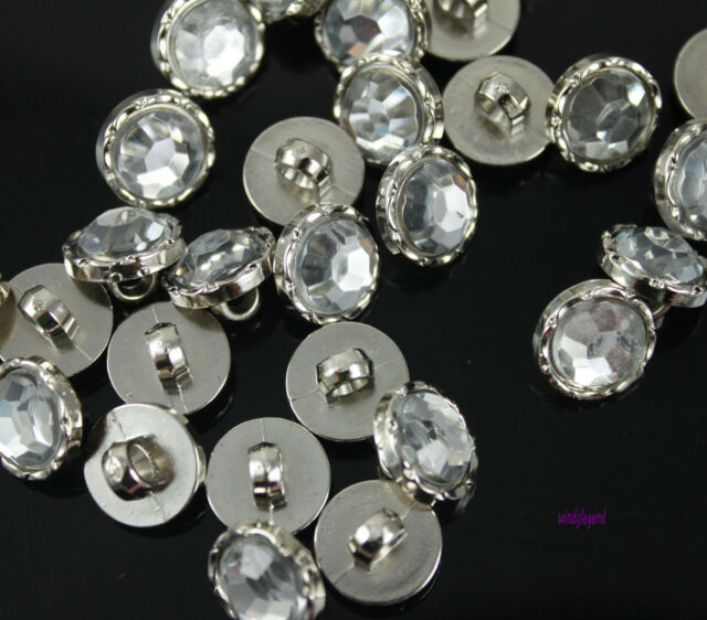 100 X Crystal Clear Rhinestone Sewing Shank Button For Clothes Sewing Craft