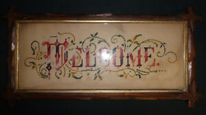 ANTIQUE-VICTORIAN-EMBROIDERY-WOOL-WELCOME-SIGN-W-RUSTIC-WALNUT-FRAME