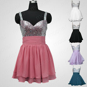 Stock-Short-Prom-Party-Cocktail-Evening-Mini-Dress-Shinning-Gown-Plus-Size-4-14