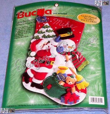 Bucilla SANTA AND FROSTY STOCKING Felt Applique Christmas Kit -Toys - 83974