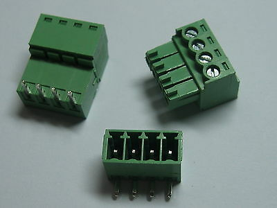 12 pcs Screw Terminal Block Connector 3.5mm Angle 4 pin/way Green Pluggable Type