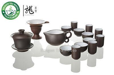Yixing Clay Glazed Dark Brown Zisha Tea Set * 16 Pcs