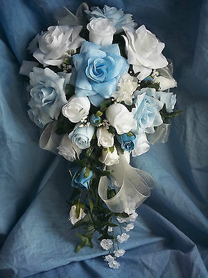 19 Piece Bridal Wedding Bouquet package  Blue & White/Other Colors