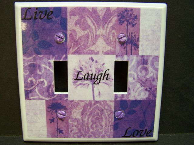 LIVE LAUGH LOVE NINE PATCH SHADES OF PURPLE LIGHT SWITCH COVER PLATE OR OUTLET