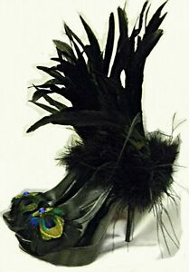 Peacock-Feather-Shoes-Fierce-Fetish-Peek-A-Boo-Pump-5-Stilletto-Heels-Sz-6-10M