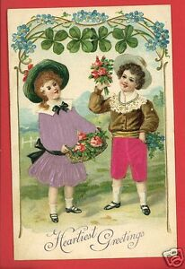 HEARTIEST-GREETINGS-SILK-APPLIED-DRESS-amp-PANTS-GIRL-BOY-ARCADIA-POSTCARD