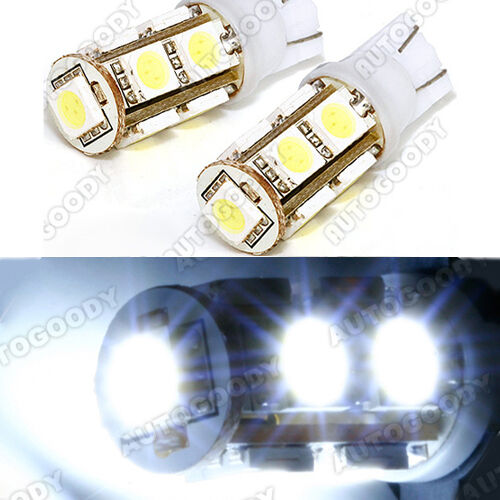 2x HID WHITE LED Bulbs 9-SMD Reverse Backup Lights Map