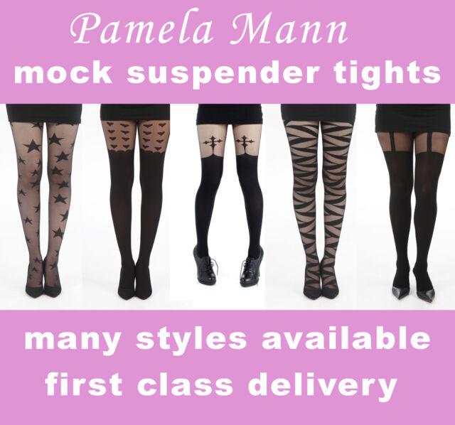PAMELA MANN FASHION MOCK SUSPENDER TIGHTS , PATTERNED TIGHTS, CLEARANCE