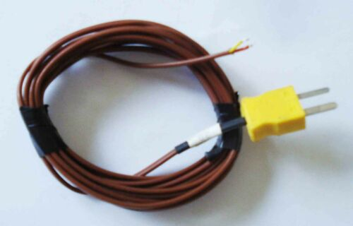K type thermocouple extension lead and male connector 1m Brown outer sleeve