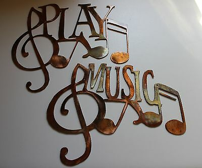 MUSIC  & PLAY Wall Art with Musical Notes  duo set Copper/Bronze by HGMW
