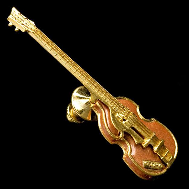 Gold Hofner Cavern Bass  Pin Replica Lefthanded Bass 24 K Gold Electroplate