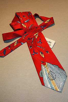 """GONE FISHING Caught the BIG ONE Neck Tie 56"""" Novelty Silk Fishin Fish red NEW"""