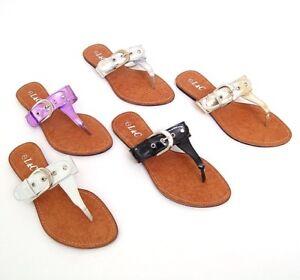 New-Womens-Sandals-Thongs-Flip-Flops-Buckle-Flats-Shoes