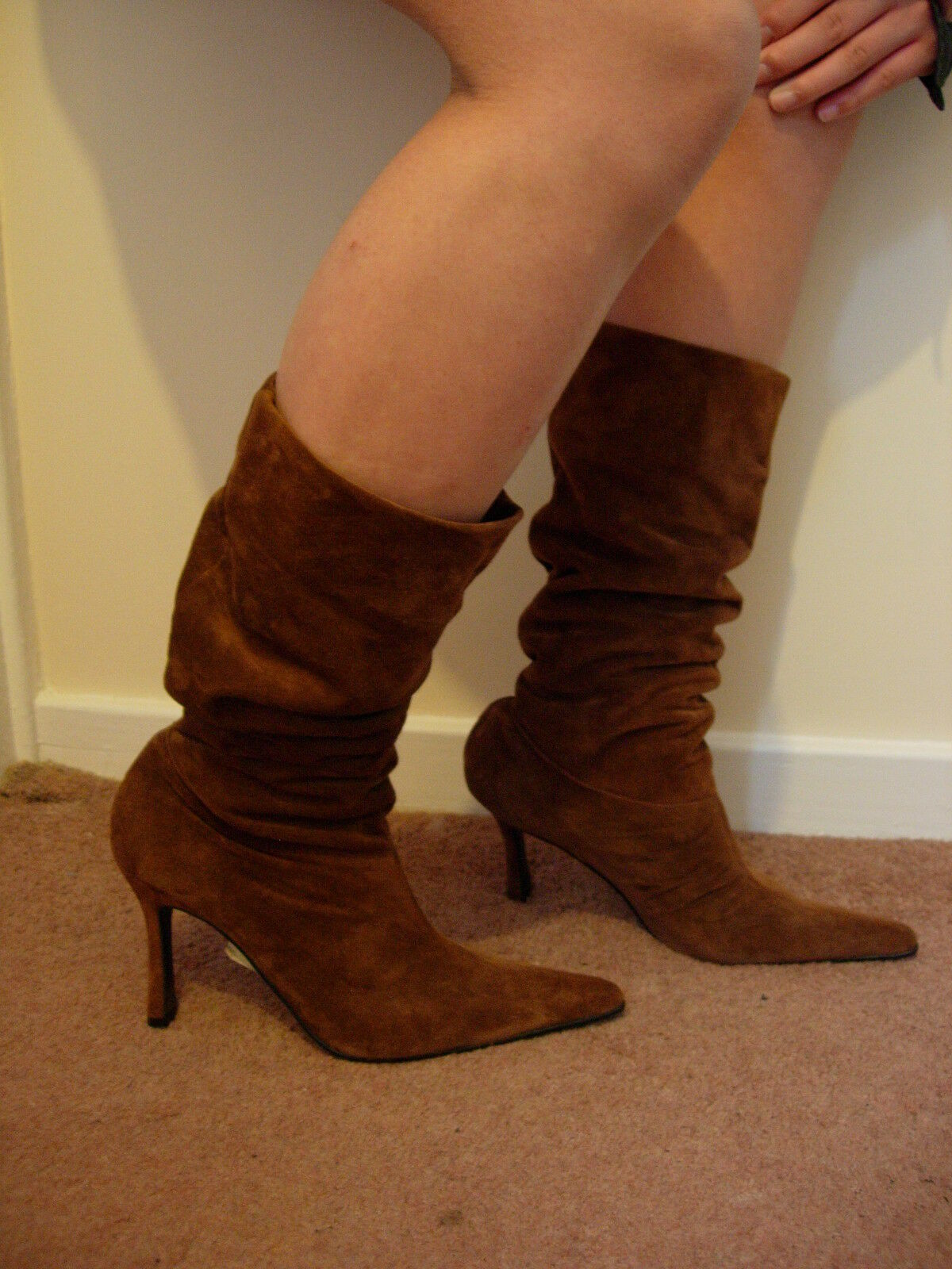 Shellys elegant Braun suede Leder slouch stiletto calf boots pointed toe 80s