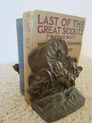VINTAGE PAIR OF WESTERN, COVERED WAGON, BRONZE BOOKENDS