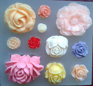 Silicone-mould-11-ROSE-flower-set-food-use-resin-polymer-clay-wax-fimo-mold-soap