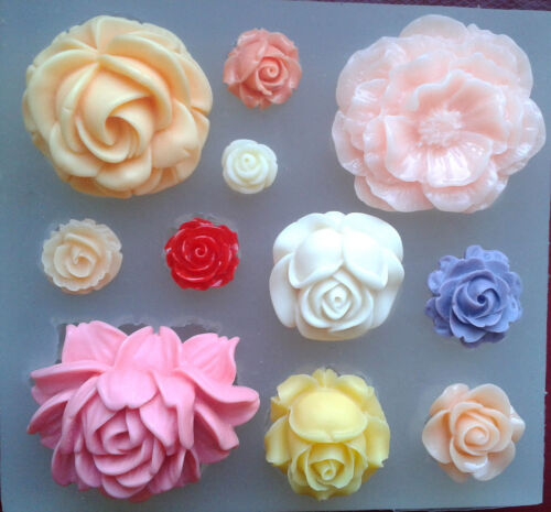 Silicone mould 11 (ROSES) flower set. FOOD USE, wax, resin fimo - Silicone mold