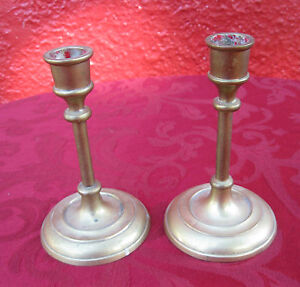 2-Pc-Lot-Vintage-solid-Brass-Candle-Stick-Holders-5-1-2-Tall-x-3-Across