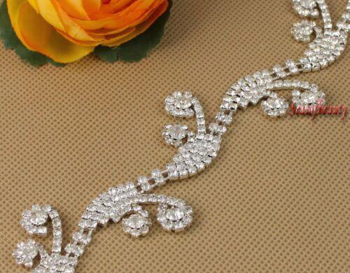 1 Yds Flower Rhinestone Crystal Silver Applique Chain Bridal Costume Dress Trim