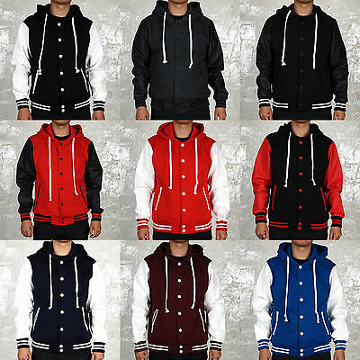 Men's Hoodie Varsity Letterman College Baseball COTTON & LEATHER JACKET