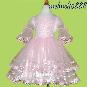 USMD38-Pink-Girls-Baby-Wedding-Pageant-Costumes-Dress-1-2-3-4-5-6-7-8Yrs