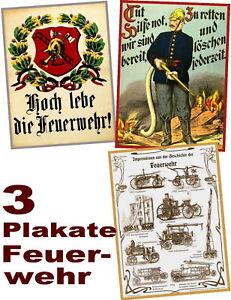 DREI-historische-FEUERWEHR-PLAKATE-zum-Sonderpreis