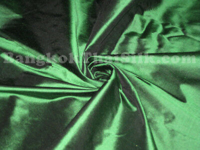 FOREST GREEN 100% PURE SILK FABRIC DRAPE DRESS BLOUSE CRAFT CLOTHING