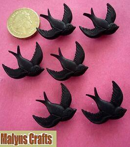 BLACK-BIRDS-Buttons-Themed-Swallow-Retro-Kitsch-Blackbird-Tattoo-Craft-Plastic