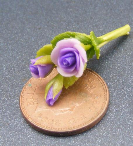 1:12 Escala Racimo De 3 Rosa Flores Tumdee Jardín Miniatura Casa de Muñecas ML