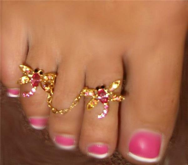 Dragonfly gorgeous SEXY crystal attached double toe ring  gems in pinks Gold gp