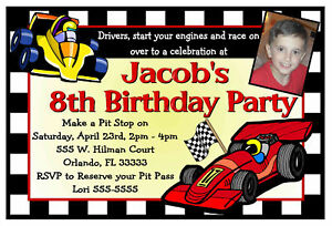 race car racing birthday party invitations  ebay, Birthday invitations