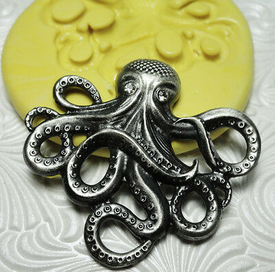 Silicone Resin Clay Fondant Flexible Push Mold Steampunk OCTOPUS 7451