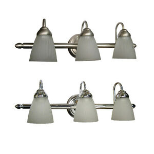 Brushed nickel or chrome 3 light fluorescent bath wall fixture 24 ebay for Fluorescent bathroom light fixtures wall mount